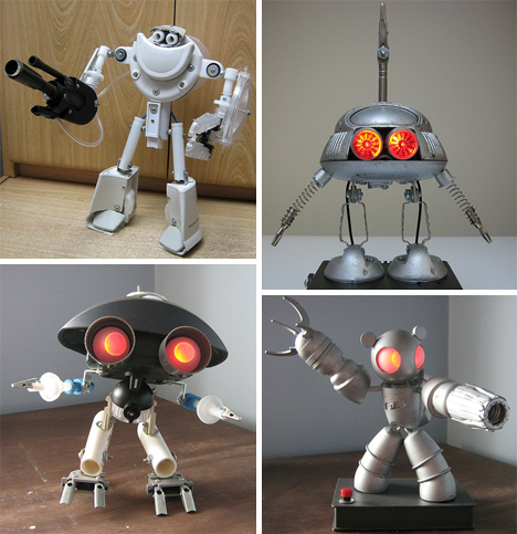 Recycled junk robots eyes