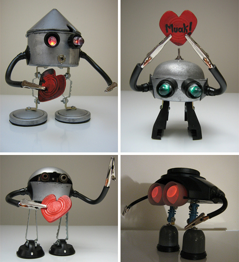 Recycled junk robots hearts