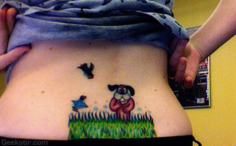 duck hunt tattoo tramp stamp