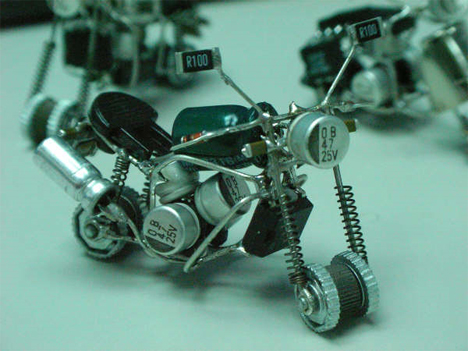 transistor and circuit motorcycle sculpture