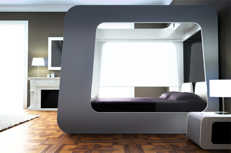 awesome bed with projector screen
