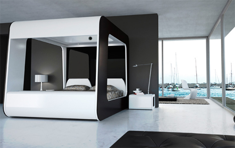 bed with built in house controls