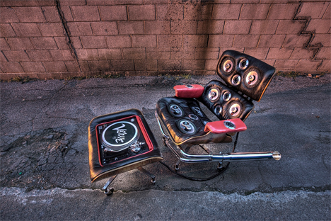 discarded chairs turned into sound systems