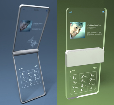 glassy glass transparent cell phone concept