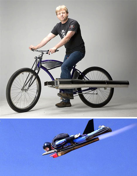 jet powered bike and skydiver
