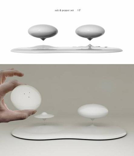 levitating salt and pepper shakers
