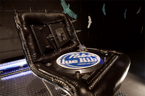 mikal hameed pabst blue ribbon spiky chair sound system