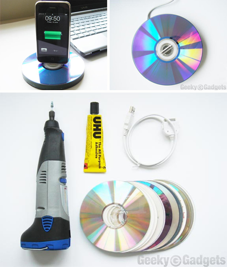 recycled cds iphone dock