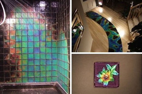 Very cool heat sensitive color morphing glass tiles Temperature sensitive glass