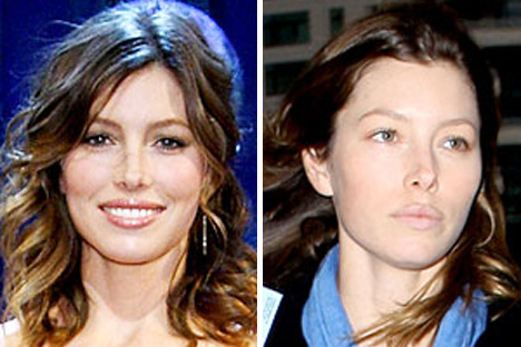 jessica biel with and without makeup
