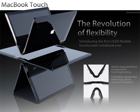 macbook touch flexible notebook computer concept
