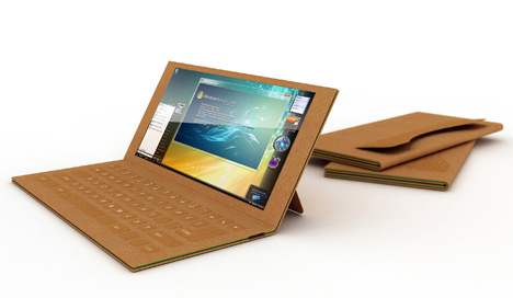 recyclable paper laptop concept