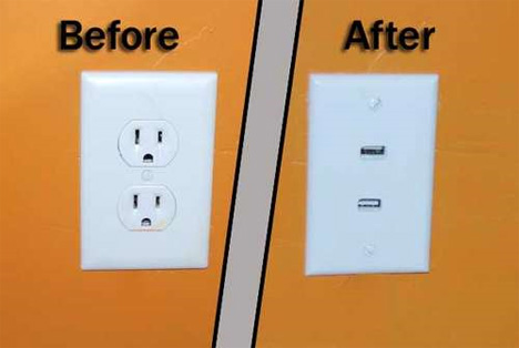 DIY USB wall outlet