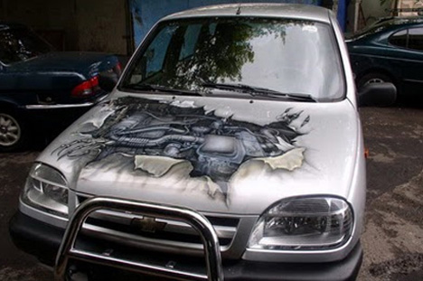 broken hood art car