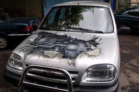 broken hood art car