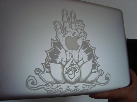 lotus hand macbook engraved art