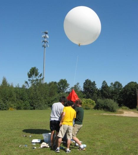 preparing weather balloon