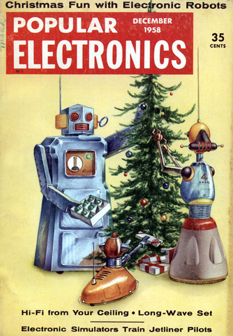 retrofuturistic home life robot servants