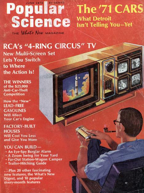 retrofuturistic popular science four screen tv