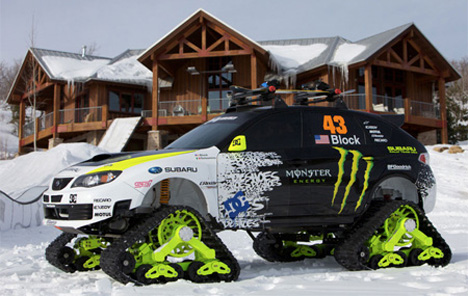 subaru snow car
