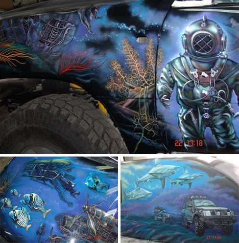 underwater scene art car