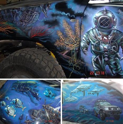 underwater scene art car
