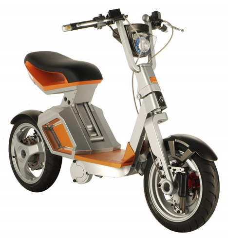 Folding battery powered scooter has small footprints for Folding motorized scooter for adults