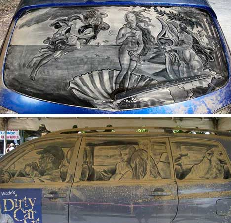 Dirty Pictures Dusty Car Windows Meet Fine Art Gadgets Science - Scott wade makes wonderful art dusty car windows