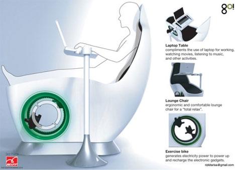 sit down and go exercise bike powered laptop desk gadgets science technology. Black Bedroom Furniture Sets. Home Design Ideas