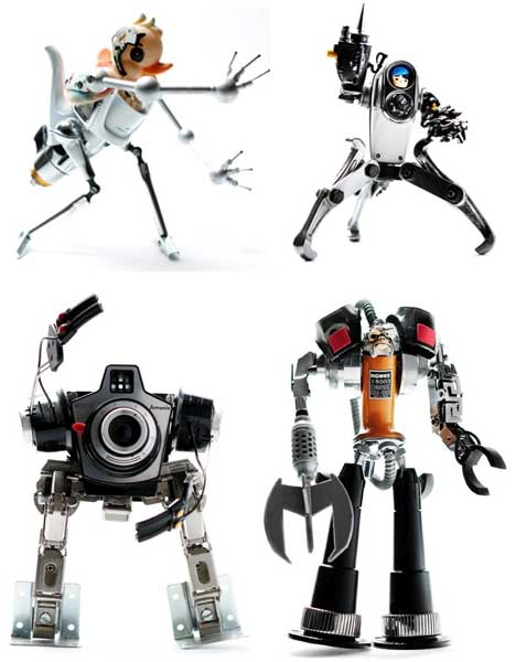 art of junk  adorable robots made from discarded gadgets