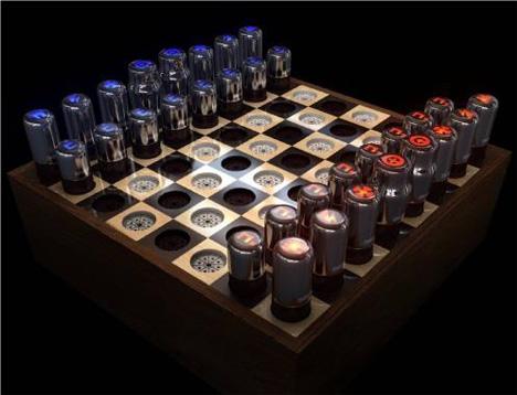glowing endorsement retrofuturistic tesla chess set