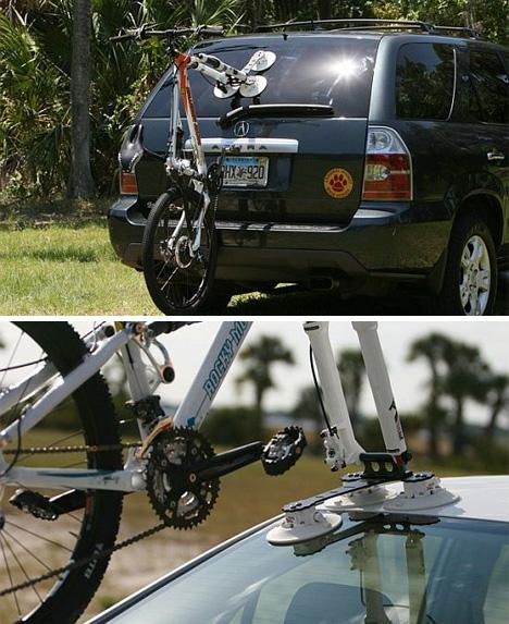 This Bike Rack Sucks Vacuum Cups Hold Bike Securely