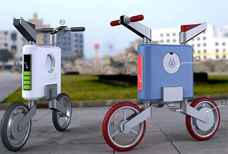 Briefcase Like Electric Bike Charges At Urban Solar Stations