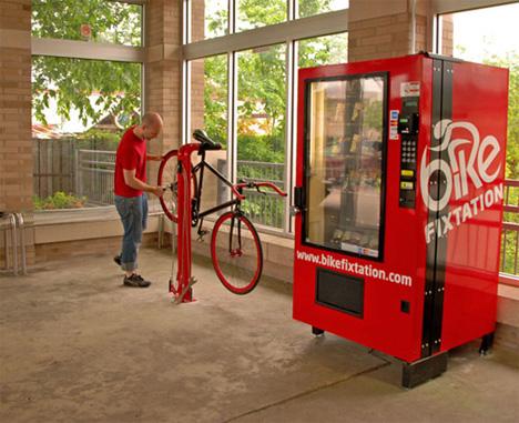 Bike Repair Station + Vending Machine = Cyclist Self-Help