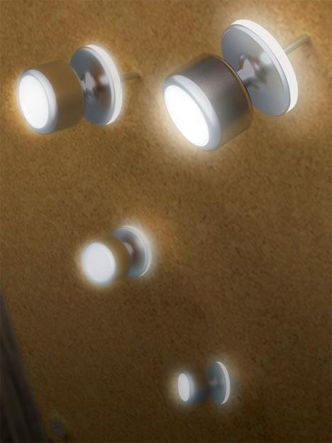 Bright Spots Clever Illuminated Cork Board Push Pins