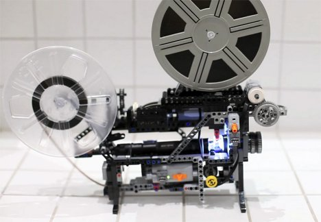 beyond cool working lego technic super 8 projector