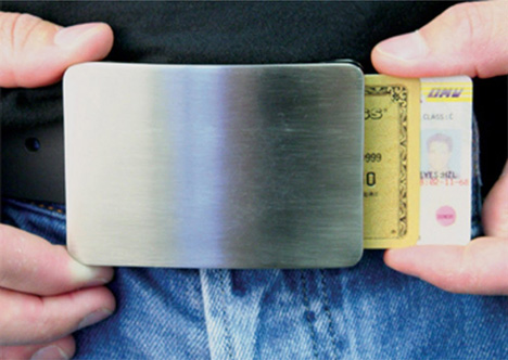 credit card concealing belt buckle