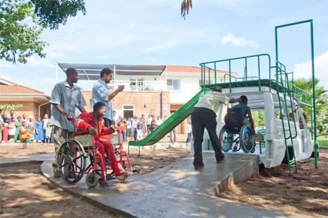 recycled ambulance hospital playground