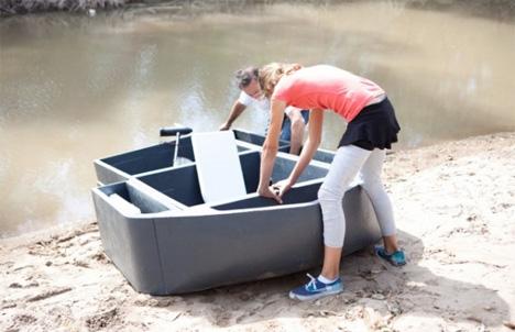 transforming modular lake boat pontoon
