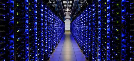 blue lights google hallway
