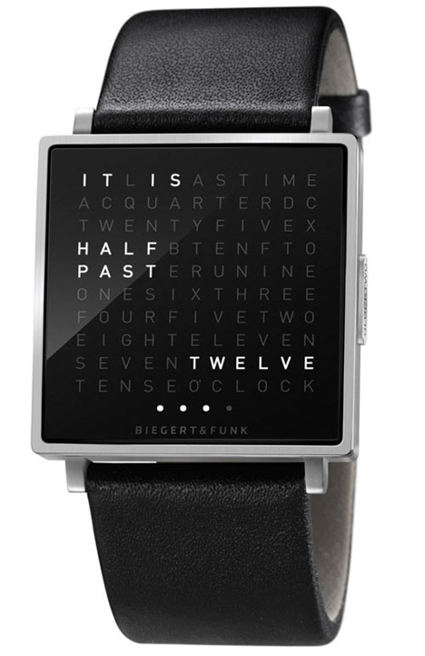 qlocktwo wearable wristwatch