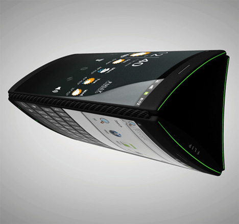 three screen flip phone design