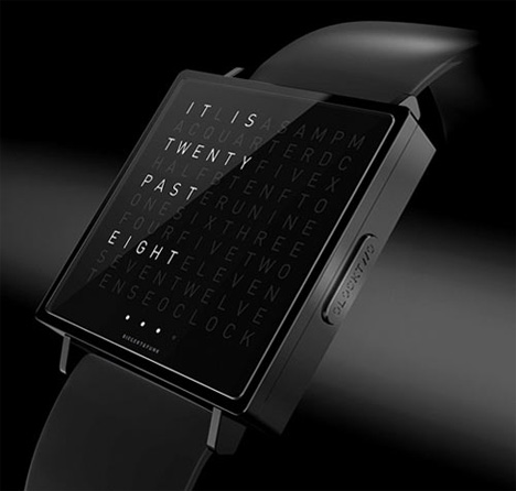 numberless timepiece lets you watch time pass in words gadgets science technology. Black Bedroom Furniture Sets. Home Design Ideas