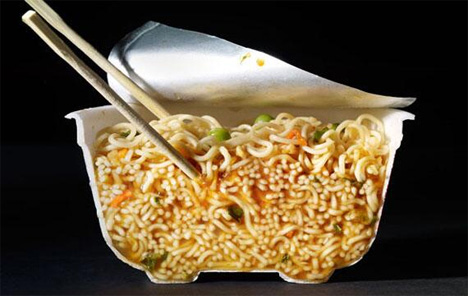 bowl of ramen cut in half