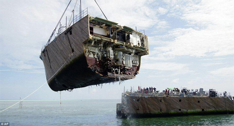 minesweeper ship cut in half