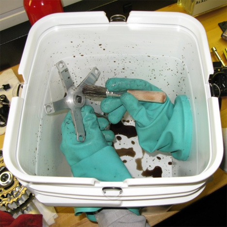cleaning bucket attached gloves