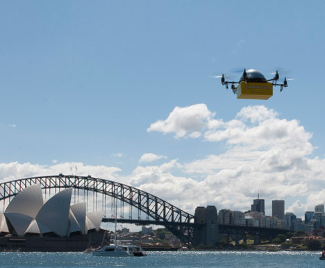 flying drone book delivery service australia