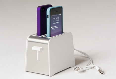 foaster toaster shaped iphone dock
