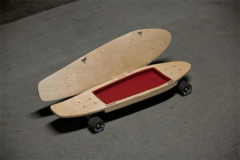 skateboard with internal storage