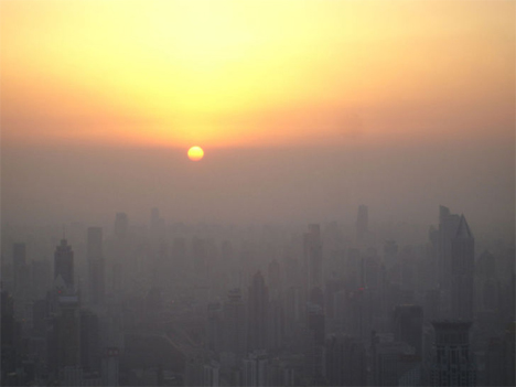 smoggy sun in beijing